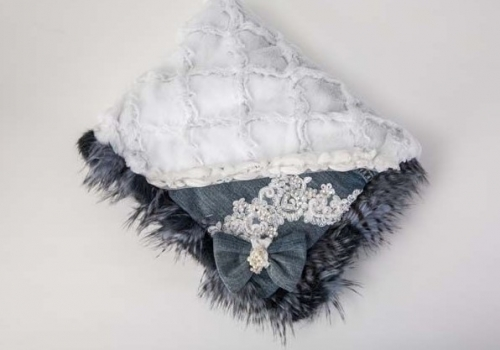 Denim Fur White Diamonds Blanket