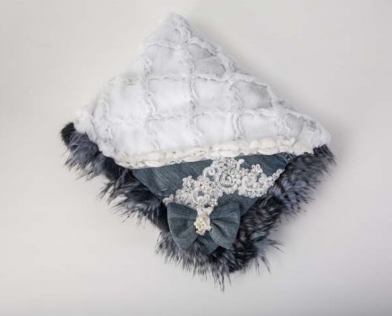 Denim Fur White Diamonds Blanket
